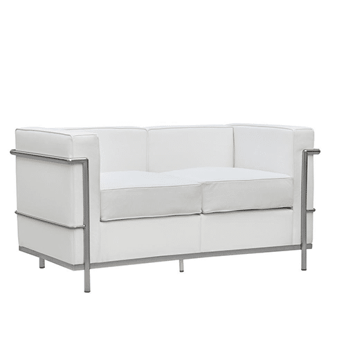 4′ White Leather Sofa