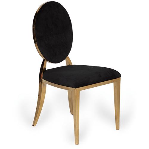 Gold Bedford Dining Chair (Black Velvet)