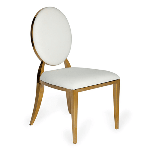 Gold Bedford Dining Chair (White Leather)