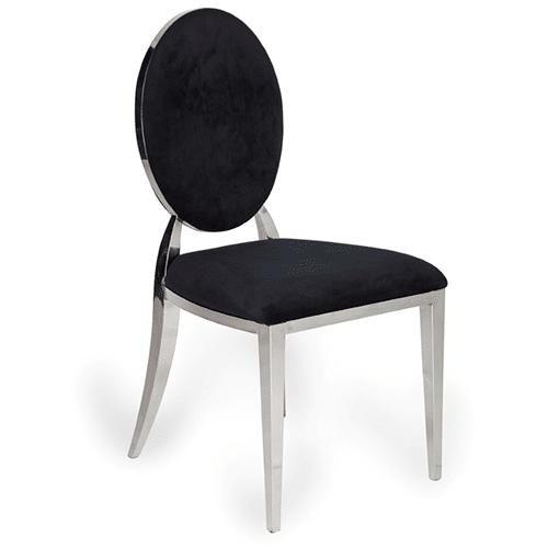Silver Bedford Dining Chair (Black Velvet)