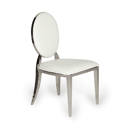 Silver Bedford Dining Chair (White Leather)