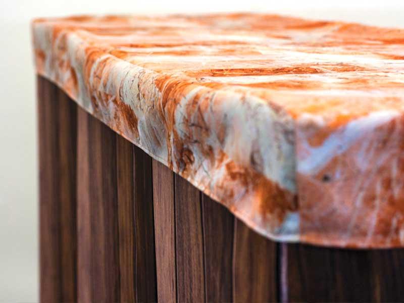 Bar Cover – Dark Wood – Peach Marble Cap