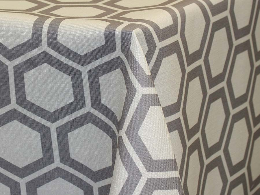 Honeycomb – Grey on ivory