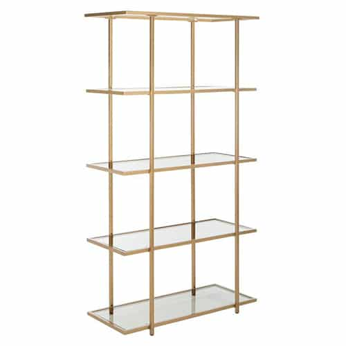 5-Tier Gold Glass Etagere