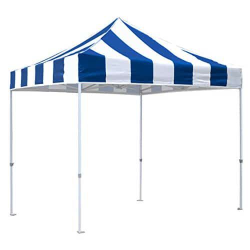 Blue and White Striped EZ Up Canopy