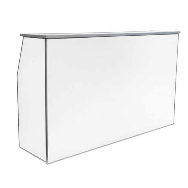 6′ White Folding Bar with Shelf