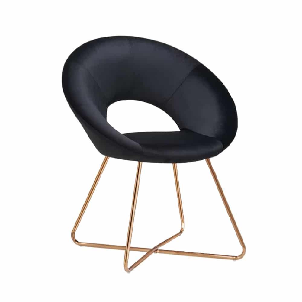 Black Velvet Lounge Chair