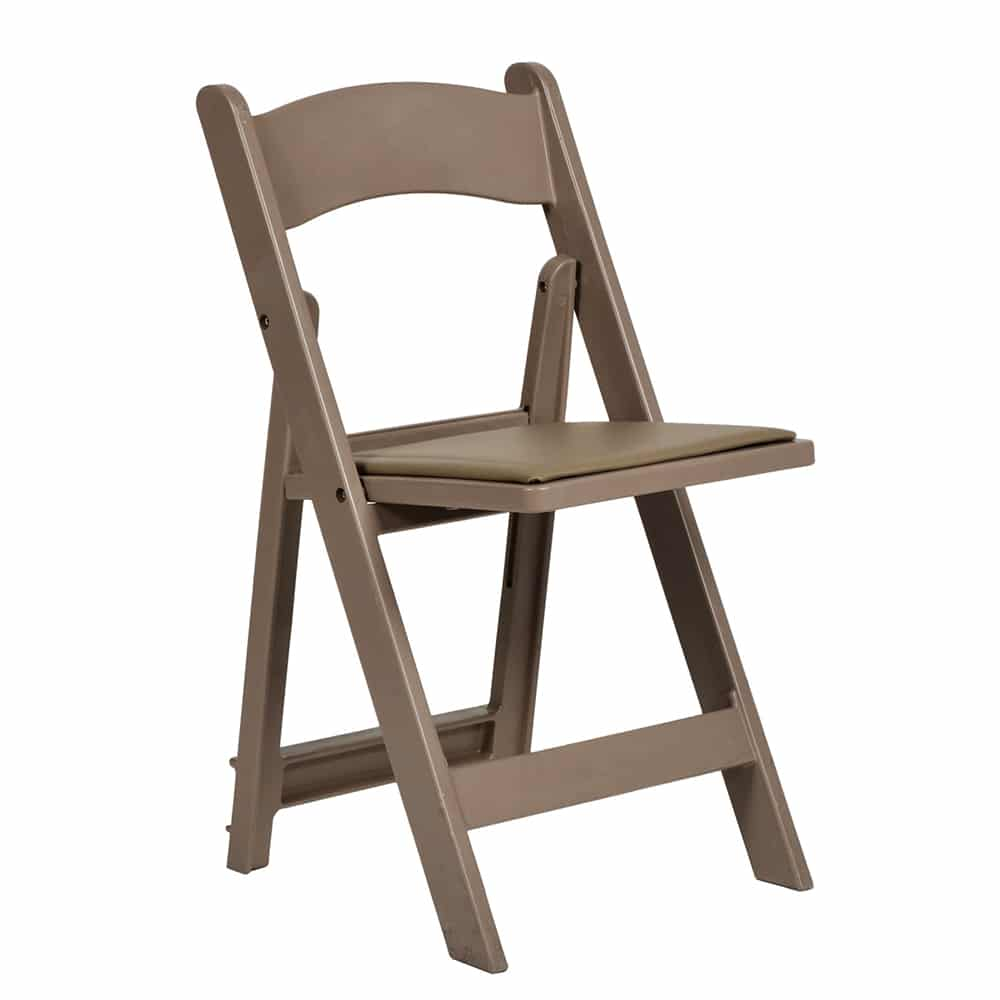 Tan Resin Padded Folding Chair